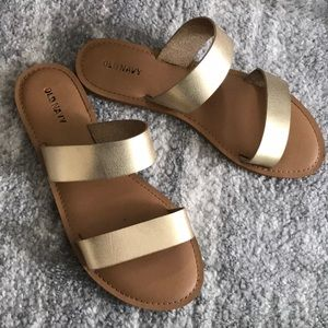 Old Navy Gold Faux Leather Sandals